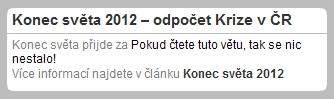 Konec světa 2012 on-line. Přímý přenos exkluzivně na Krize v ČR.