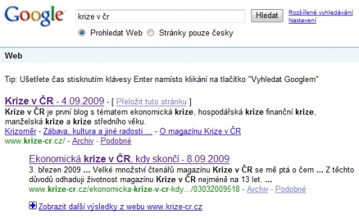 """Krize v ČR ja na výraz """"krize v čr"""" první."""